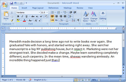 MS Word Screenshot
